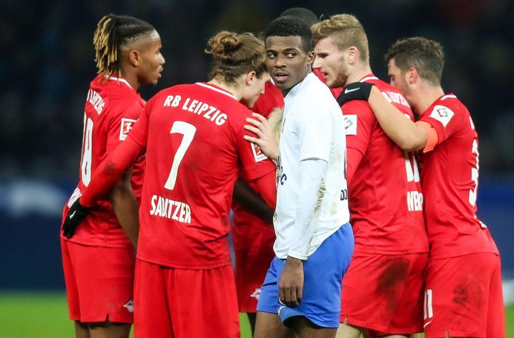 Der RB Leipzig im Torjubel – keine guter Tag für Hertha BSC Foto: Andreas Gora/dpa/Andreas Gora