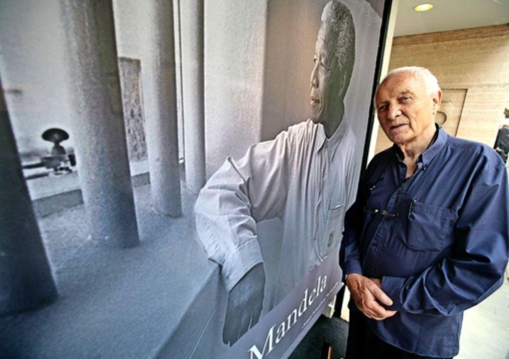 Jürgen Schadeberg vor seinem wohl  berühmtesten Foto Foto: AFP