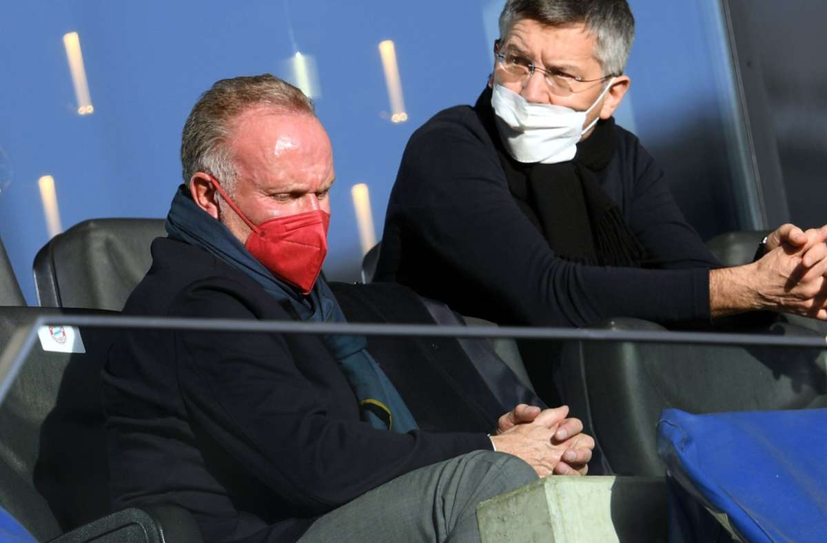 """Karl-Heinz Rummenigge (links) hat sich im ZDF-""""Sportstudio"""" zur Katar-Kritik geäußert. Foto: dpa/Arne Dedert"""
