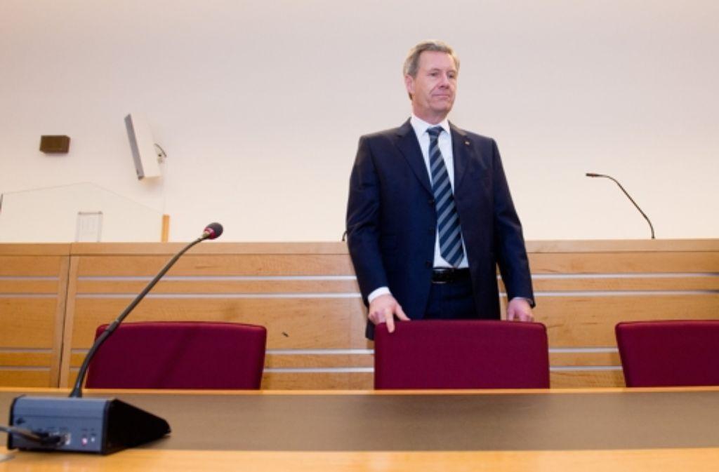Ex-Bundespräsident Christian Wulff im Gerichtssaal Foto: dpa