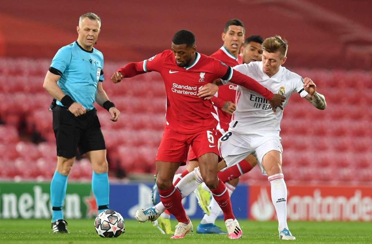 Liverpool war zwar über 90 Minuten die besser Mannschaft, doch am Ende zog Real zum neunten Mal in elf Jahren in die Runde der letzten Vier ein. Foto: AFP/PAUL ELLIS
