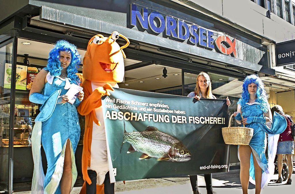 Grundsatzkritik an der Nutzung von Tieren: Peta-Aktion in Stuttgart Foto: 7aktuell.de/Andreas Friedrichs