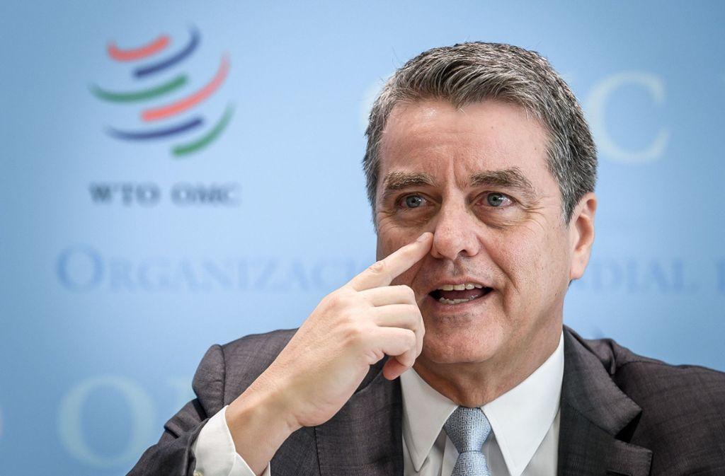 Roberto Azevedo will angeblich von seinem Amt als Chef der Welthandelsorganisation zurücktreten. (Archivbild) Foto: AFP/FABRICE COFFRINI