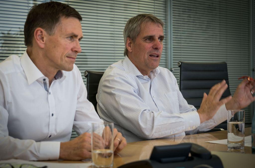 Wilfried Porth (re.) ist Personalchef bei Daimler, Christoph Kübel hat diese Funktion bei Bosch. Beide sitzen außerdem im Präsidium und der Vollversammlung der IHK Region Stuttgart. Foto: Lichtgut/Achim Zweygarth