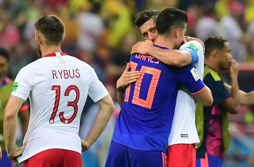Bayern-Profis unter sich: James Rodriguez und Robert Lewandowski bei der WM 2018. Foto: AFP