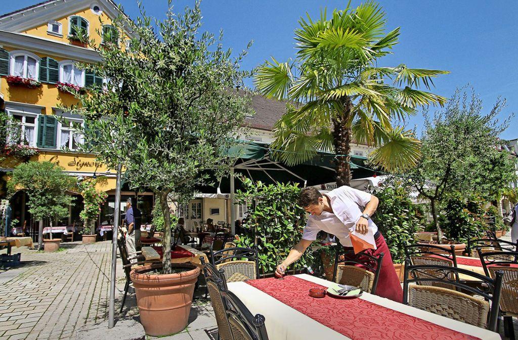 So grün darf es auf dem   Marktplatz nicht mehr sein: Erst mussten  die Wirte die Pflanzen stutzen, jetzt sollen sie  höhere Gebühren für die Stühle im  Freien zahlen. Foto: factum/Archiv