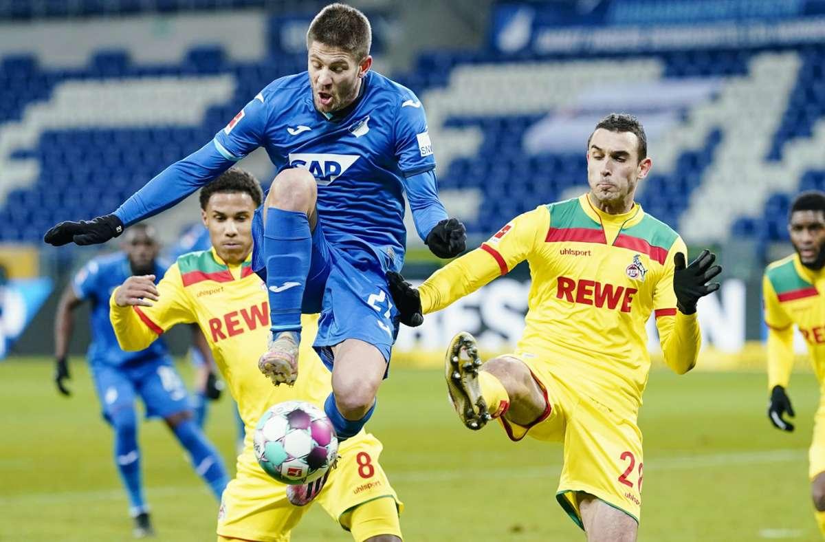 Andrej Kramaric traf gegen den 1. FC Köln zwei Mal vom Punkt. Foto: dpa/Uwe Anspach