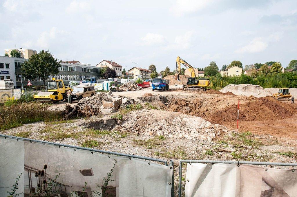 Das Fundament für den Gewa-Tower in Fellbach wird ausgehoben. Foto: www.7aktuell.de | Florian Gerlach