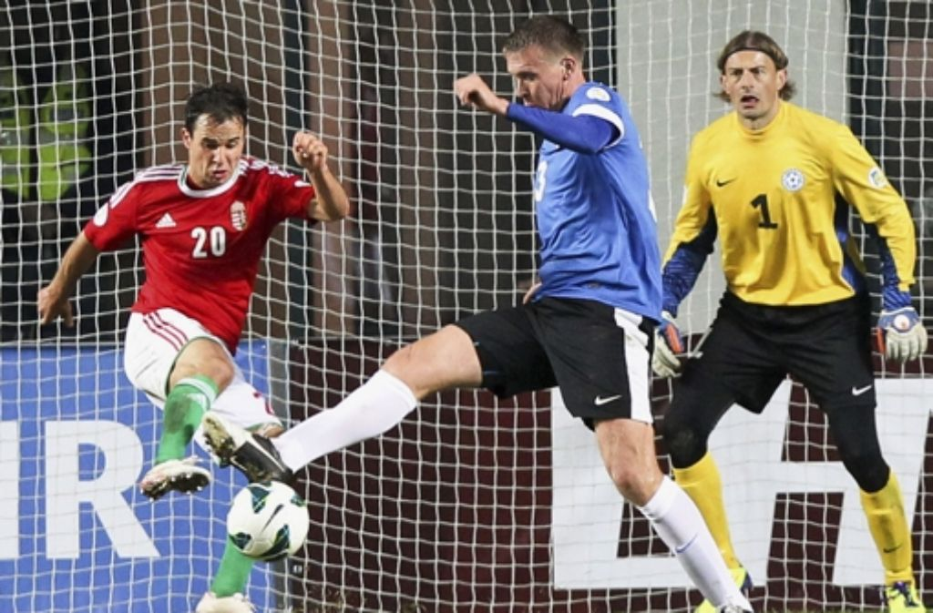 Tamas Hajnal (links) gelingt für Ungarn in Estland das goldene Tor zum 1:0-Sieg. Foto: AP