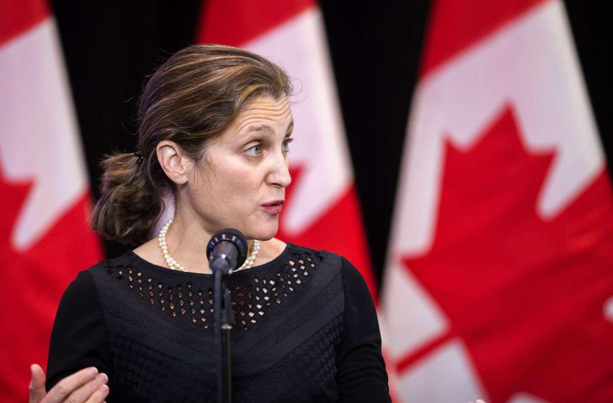 Chrystia Freeland ist die erste Finanzministerin in Kanada. (Archivbild) Foto: dpa/Geoff Robins