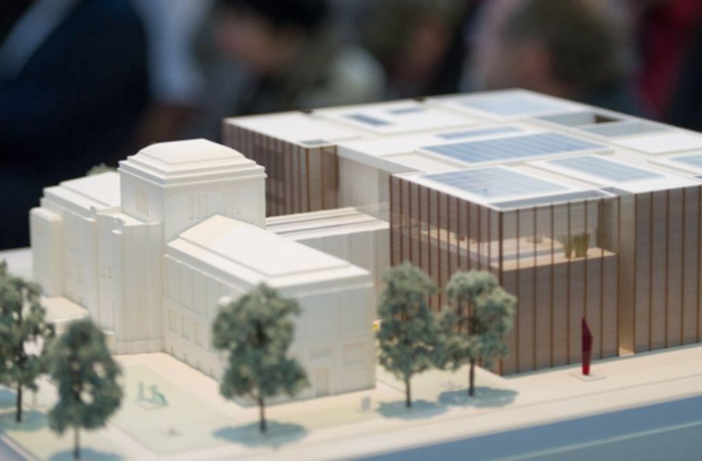 """So sieht der Entwurf der siegreichen Hamburger Architekten Gerkan, Marg und Partner (gmp) aus. Kritiker stören sich an dem Format des Neubaus und behaupten, die Mannheimer wollten keinen solchen """"Klotz"""". Foto: dpa"""