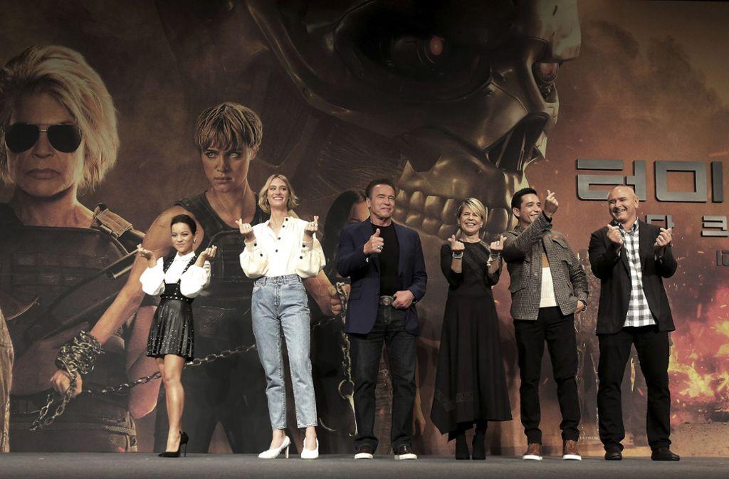 """Die Crew von """"Terminator: Dark Fate"""" promotete den Film in Seoul. Foto: AP/Ahn Young-joon"""