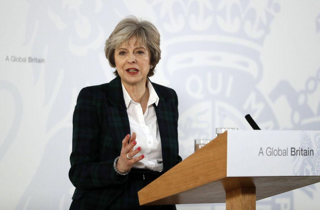 Großbritanniens Premierministerin Theresa May bei ihrer Grundsatzrede zum Brexit. Foto: AP