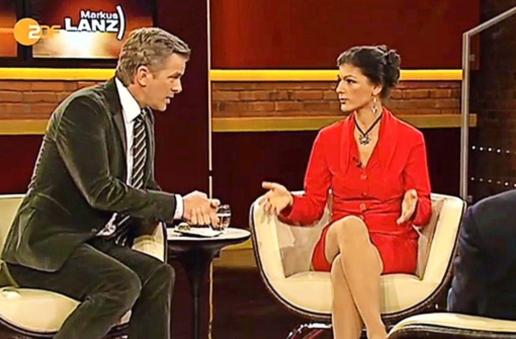 Stein des Anstoßes: Markus Lanz befragt aggressiv Sahra Wagenknecht. Foto: ZDF