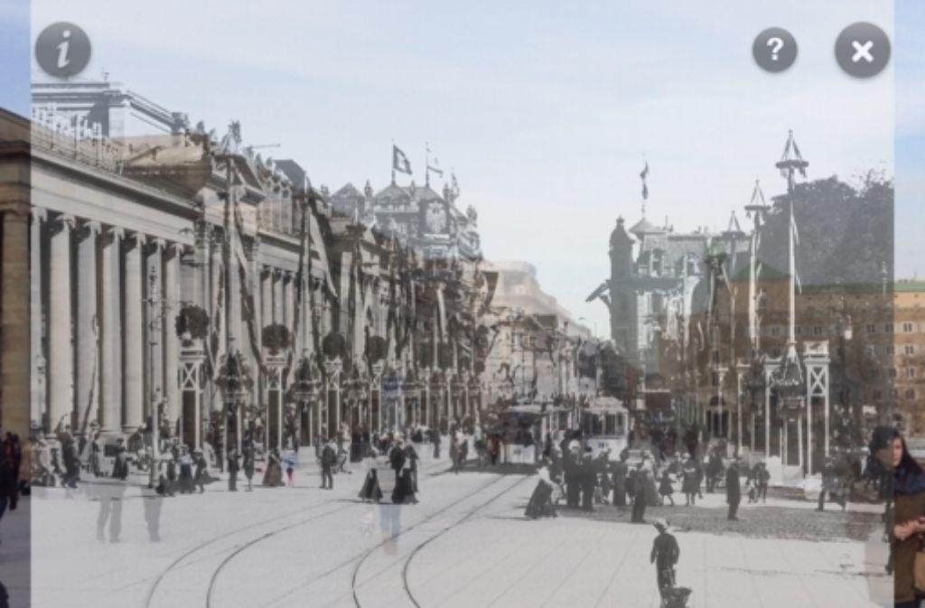 Der Königsbau in Stuttgart früher und heute. Mit einem Schieberegler kann man in der Zeitfenster-App die Transparenz des alten Fotos einstellen. Foto: StZ