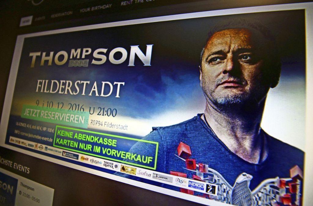 Vor zwei Jahren ist Marko Perkovic alias Thompson in Filderstadt aufgetreten. Foto: StZN