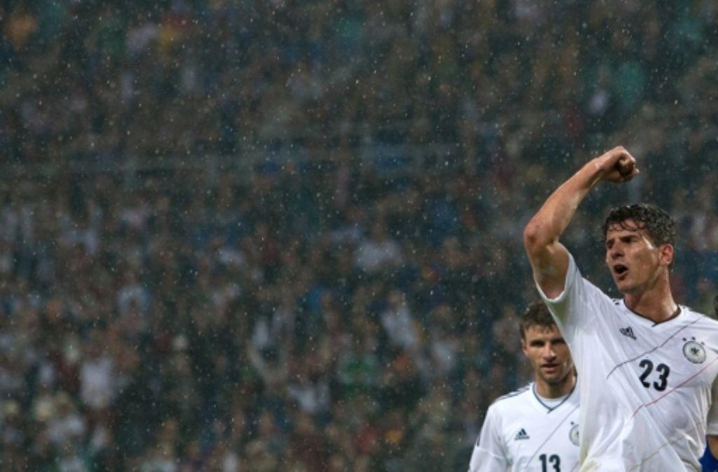 Gomez bejubelt seinen Siegtreffer gegen Portugal. Foto: dpa