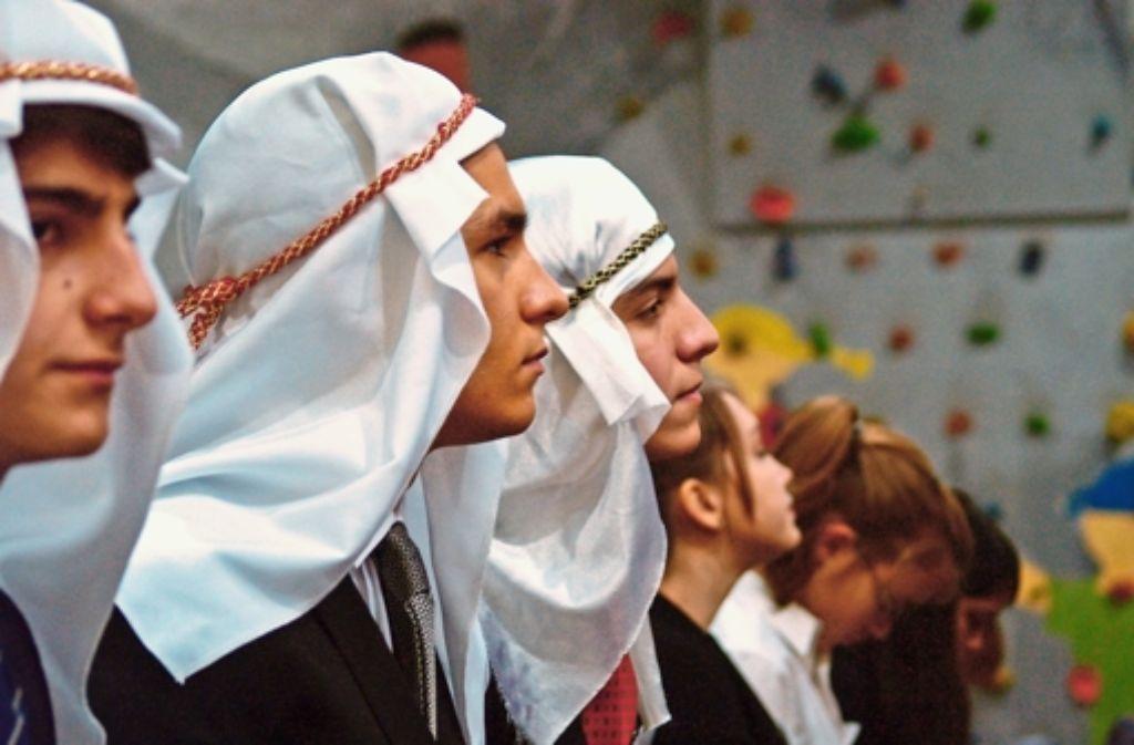 """""""Ihr werdet eine faulige Ernte einfahren."""" Die Delegation des Sillenbucher Geschwister-Scholl-Gymnasiums vertritt Syrien und wettert gegen westliche Medien. Foto: Ott"""