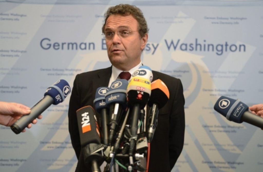 Innenminister Friedrich bei seiner Stipvisite in den USA in der vorigen Woche. Foto: dpa