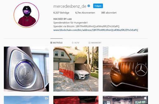 Instagram-Account von Mercedes Benz gehackt