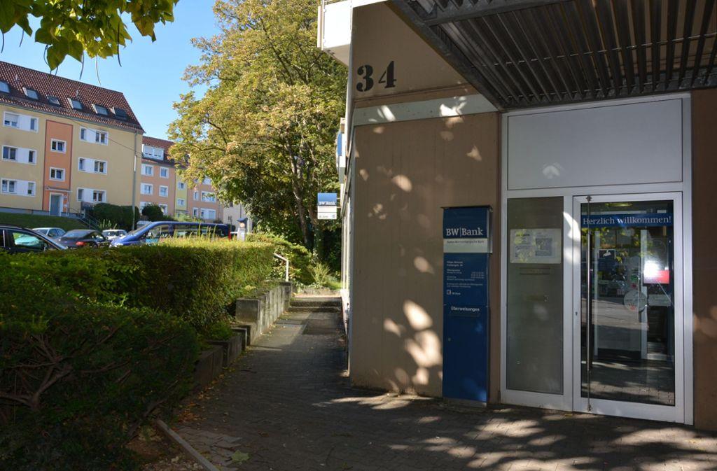 Die BW-Bank-Filiale in der Freibergstraße wird ab Montag,  12. November, umgebaut. Foto: Janey Schumacher