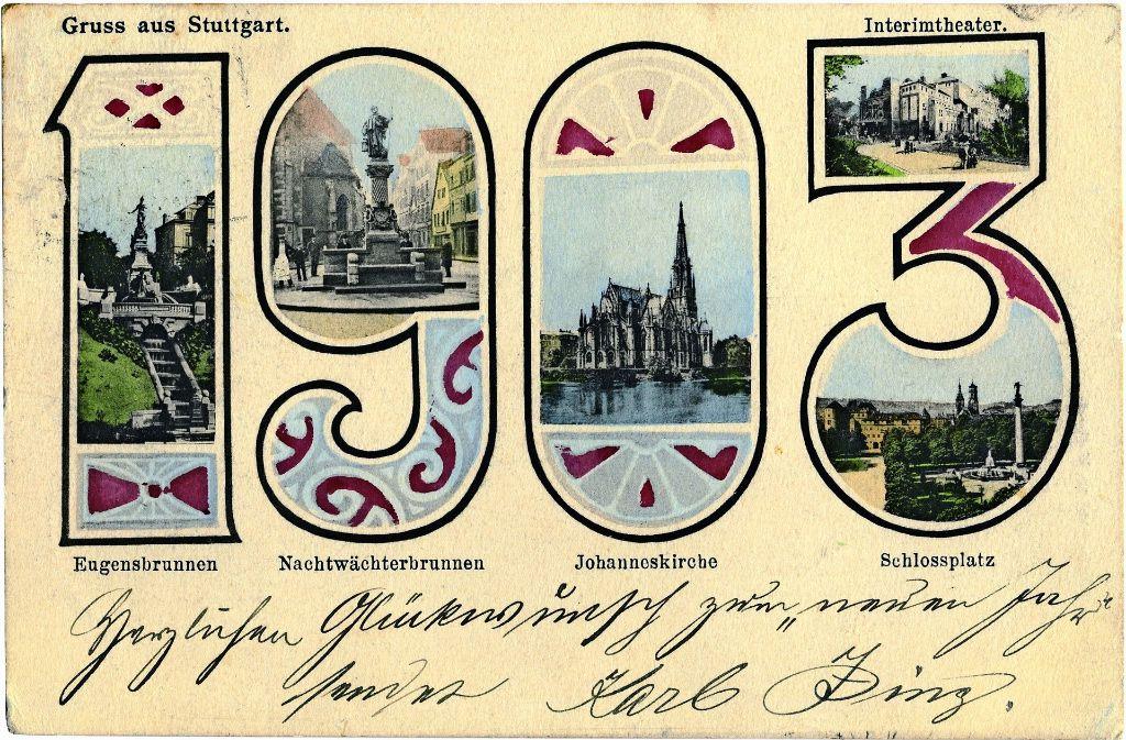 Stuttgarts Sehenswürdigkeiten von einst sind auf der Karte zum neuen Jahr 1903 zu sehen. Foto: Sammlung Wolfgang Müller