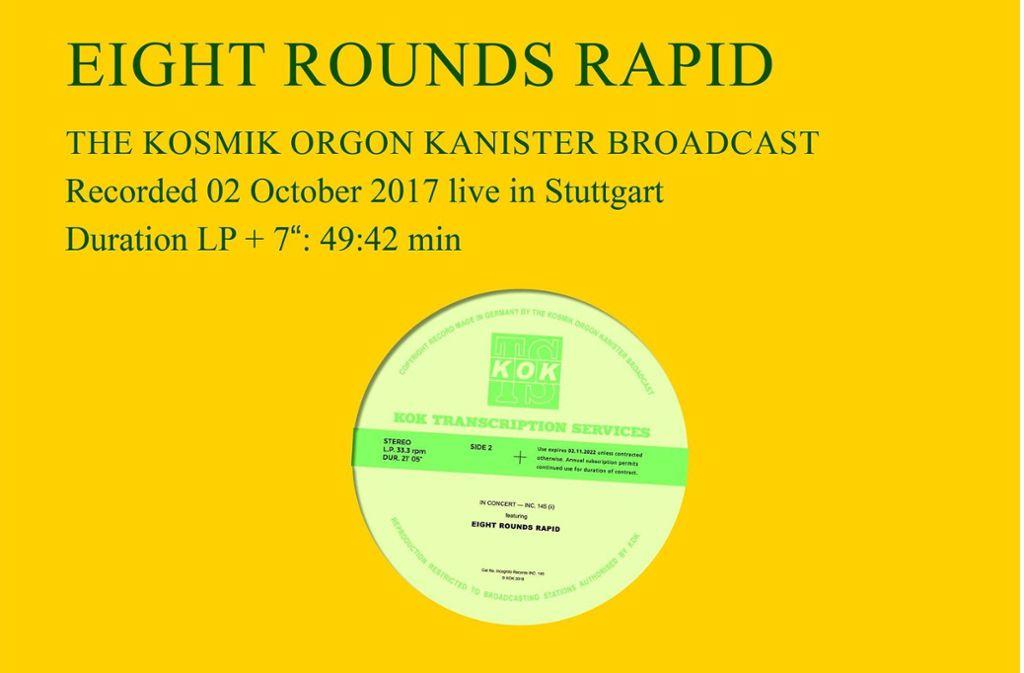So sieht die Liveplatte von Eight Rounds Rapid aus. Foto: Kosmik Orgon Kanister