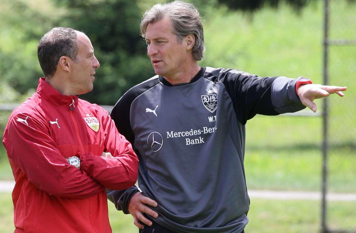 Walter Thomae (re.) neben dem damaligen VfB-II-Chefcoach Marc Kienle: Jetzt wird der 54-Jährige Cheftrainer  bei der SG Sonnenhof Großaspach. Foto: Baumann