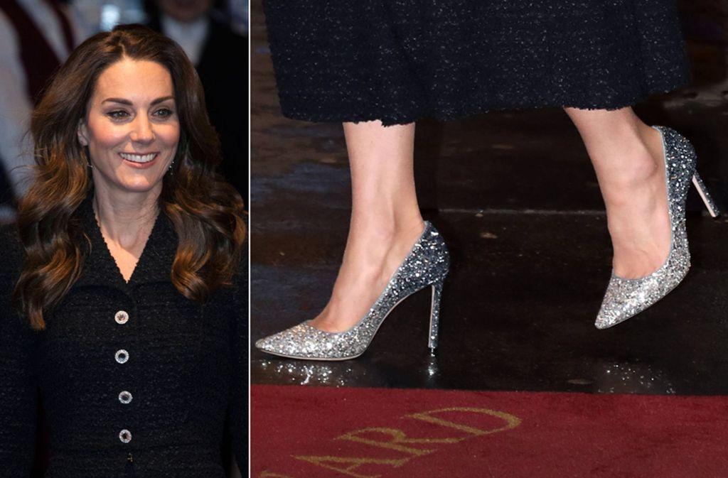 Diese Schuhe haben es in sich – entsprechend zurückhaltend ist der Rest von Herzogin Kates Look. Foto: Imago/Doug Peters