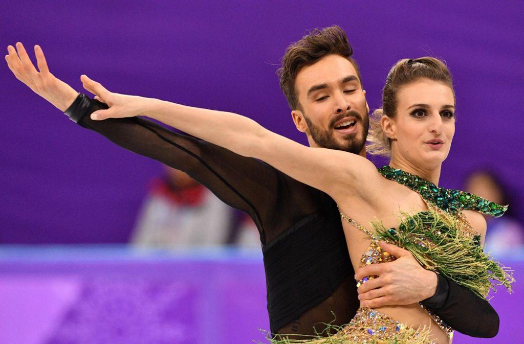 Schwere Momente für die französische Eistänzerin Gabriella Papadakis bei Olympia 2018. Foto: AFP