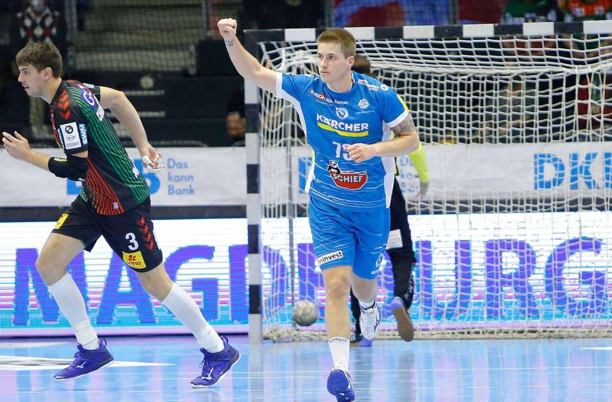 Neun Tore für den TVB Stuttgart in Magdeburg: Linkshänder Viggo Kristjansson. Foto: imago/Jan Huebner