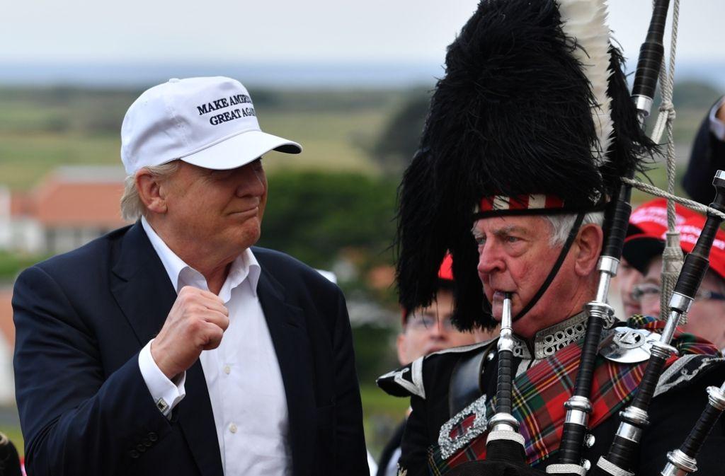 Donald Trump hat es sich bei seinem Besuch in Schottland nicht nehmen lassen, den Briten zum Brexit-Votum zu gratulieren. Foto: Getty