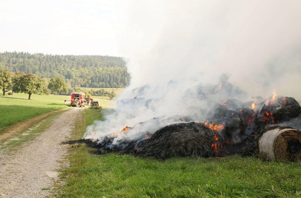 Rund 200 Strohballen standen in Keltern im Enzkreis stundenlang in Flammen. Foto: SDMG