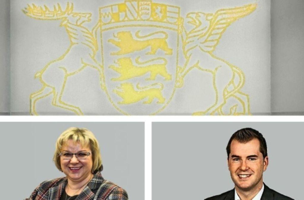 Wer darf  für den Landtag kandidieren? Jutta Schiller ist schon drin, Simon Weißenfels will sie ablösen. Foto: Rudel, dpa, privat