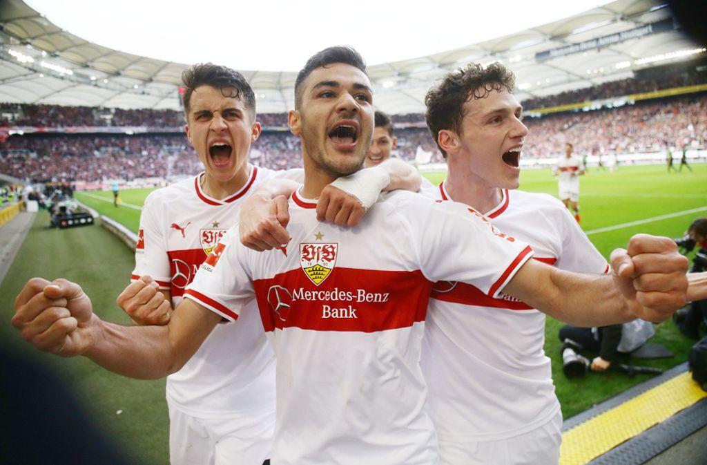 Marc Oliver Kempf, Ozan Kabak und Benjamin Pavard (von links) sind seit Mitte Februar in der VfB-Innenverteidigung gesetztTimo Baumgartl ist beim VfB zurzeit nur Bankdrücker. Foto: Baumann