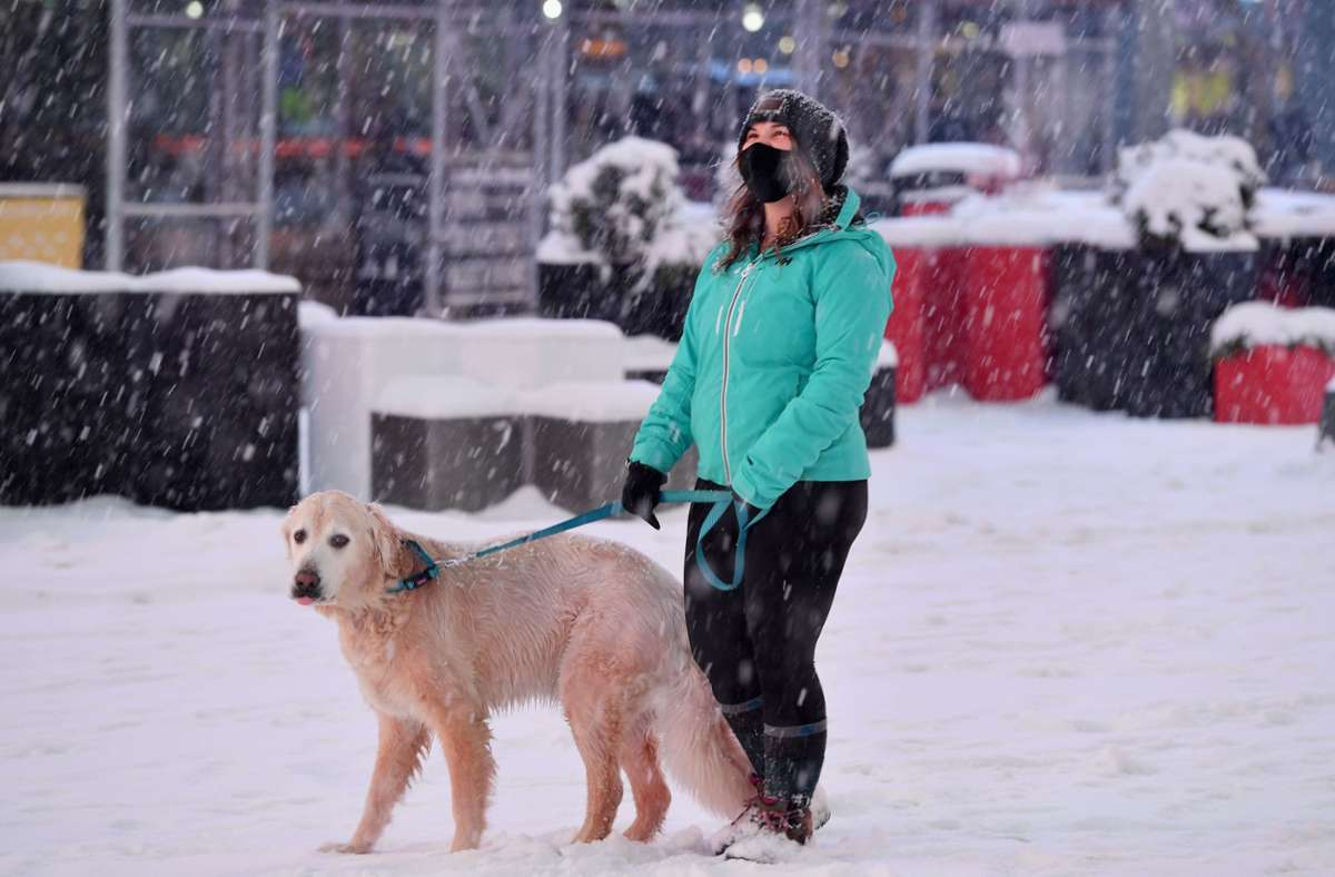Schnee legt New York lahm. Foto: AFP/ANGELA WEISS