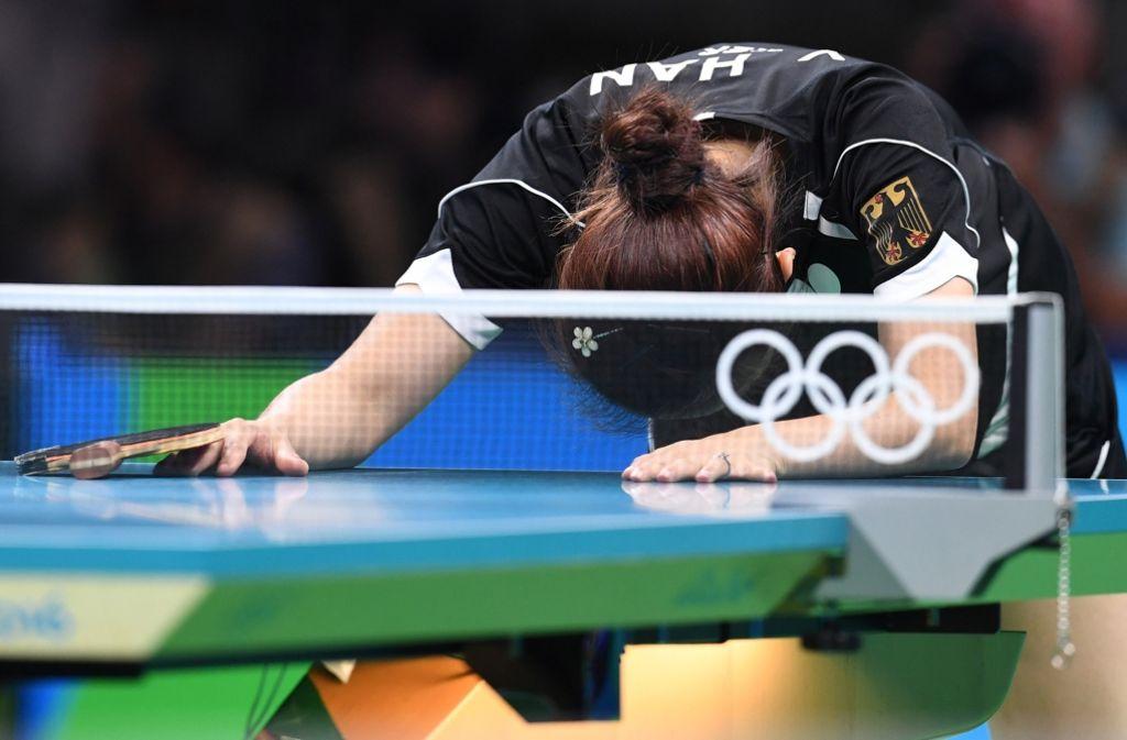 Ying Ha (Foto) spielt heute zusammen mit ihrer Teamkollegin Xiaona Shan um Gold gegen China. Foto: dpa