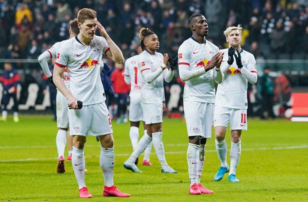 RB Leipzig musste sich gegen Eintracht Frankfurt geschlagen geben. Foto: dpa/Uwe Anspach