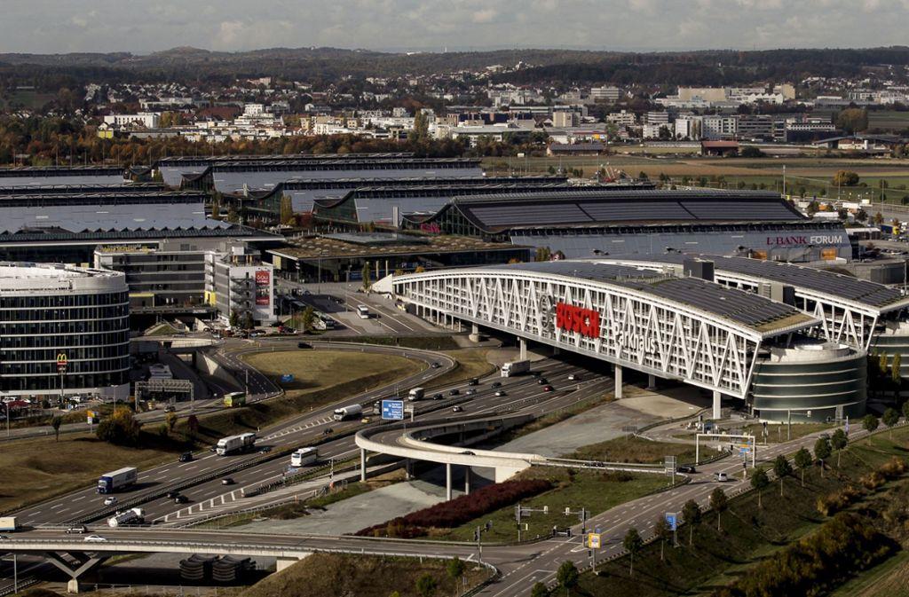 Luftbild der Messe Stuttgart – auf den Fildern werden viele Wohnungen über Airbnb vermietet. Messebesucher sind eine Zielgruppe. Foto: Lichtgut/Leif Piechowski