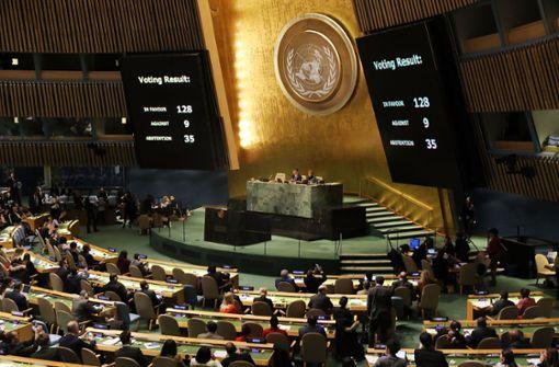 UN verurteilt US-Entscheidung