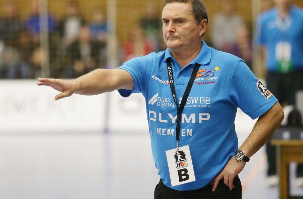 Stieg 2013 als Trainer der SG BBM Bietigheim in die  Frauenhandball-Bundesliga auf: Der ehemalige Bundestrainer Dago Leukefeld. Foto: Baumann