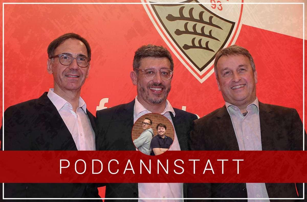 Das Präsidium des VfB Stuttgart ist zerstritten und steht unter anderem im Fokus unserer aktuellen Ausgabe – Bernd Gaiser, Claus Vogt und Rainer Mutschler bekriegen sich (v.l.n.r.) Foto: StZN/Baumann