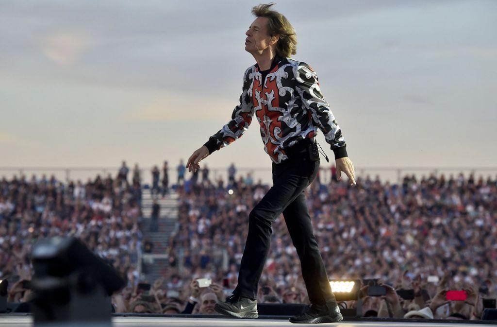 Auf der Bühne wird er alterslos: Mick Jagger, der Sänger der Rolling Stones Foto: dpa