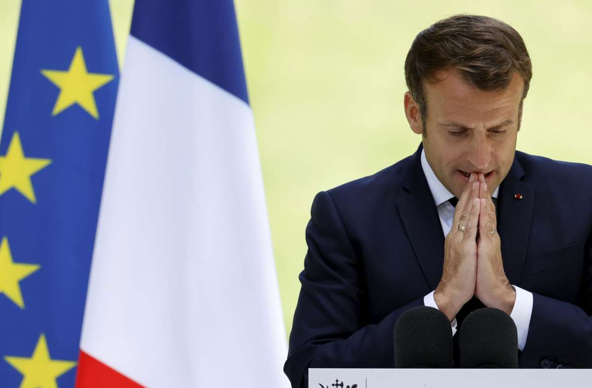 Präsident Emmanuel Macron hält am Mittwoch eine TV-Ansprache. Foto: AP/Christian Hartmann