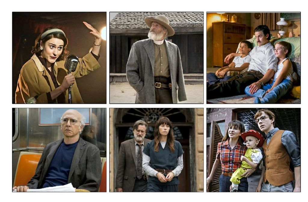 """Unserer Kandidaten für den TV-Preis Emmy: """"The Marvelous Mrs. Maisel"""", """"Godless"""", """"This is us"""" (obere Reihe von links), """"Curb your Enthusiasm"""", """"Sinner"""" und """"Eine Reihe betrüblicher Ereignisse"""" (untere Reihe von links) Foto: Amazon, Netflix, HBO"""