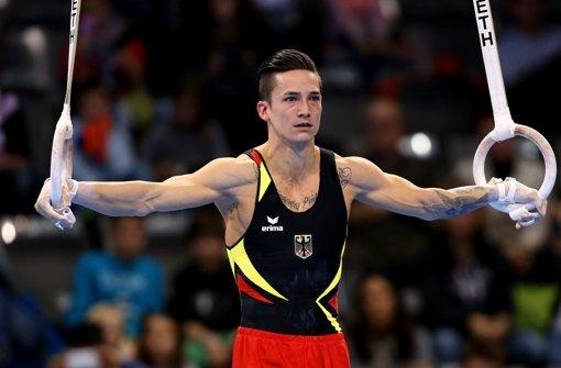 Der zweifache Silbermedaillengewinner Marcel Nguyen trat an Ringen, Boden, Barren und Reck an. Foto: Pressefoto Baumann