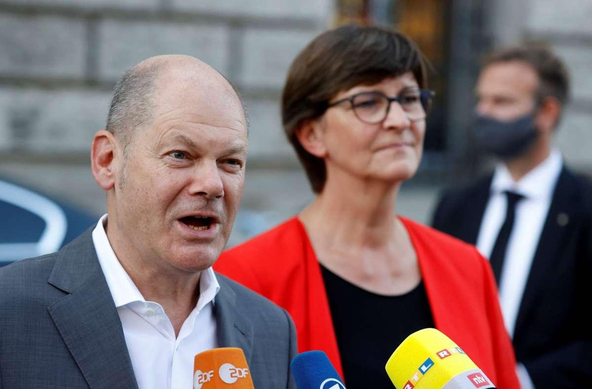 """Olaf Scholz bezeichnete die Koalitionseinigung als """"großen riesigen Fortschritt"""". Foto: AFP/ODD ANDERSEN"""
