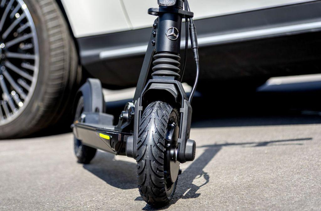 So sieht der E-Scooter von Mercedes-Benz aus, wie er auch auf der IAA zu sehen ist. Foto: Daimler AG