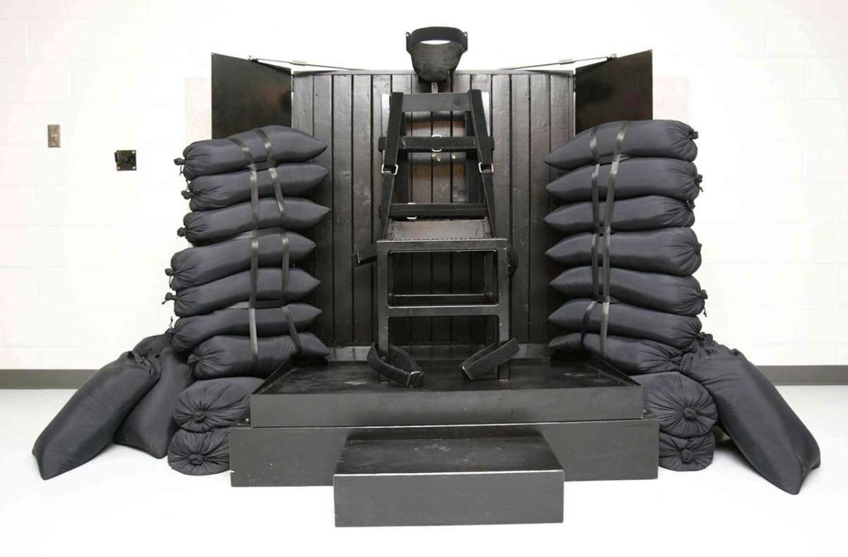Ein Stuhl ist in der Hinrichtungskammer des Utah State Prison zu sehen. Foto: Trent Nelsen/The Salt Lake Tribune/Pool/dpa