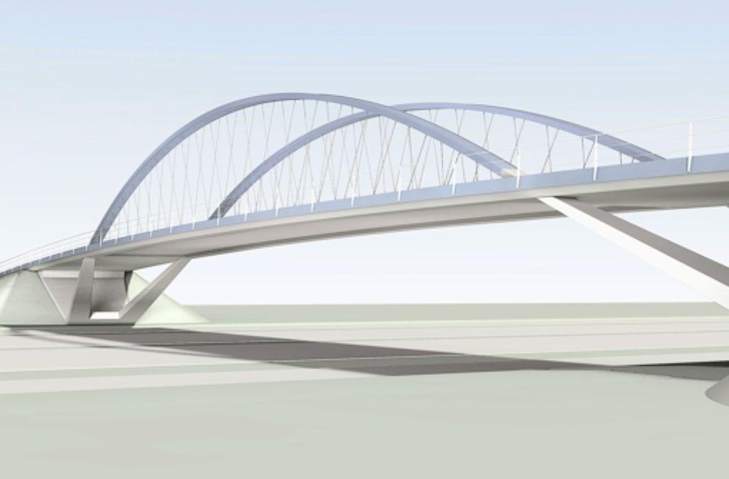 Die Stadtbahnbrücke soll vor Ort gebaut  und in einer einzigen Nacht zwischen die Widerlager geschoben werden. Foto: Schlaich, Bergermann und Partner